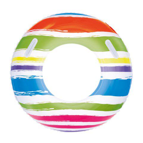 Trendy Stripe Print Swim Ring with Handles -   Mobile