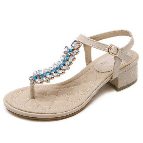 Outfit Rhinestones Patent Leather Sandals - 38 APRICOT Mobile