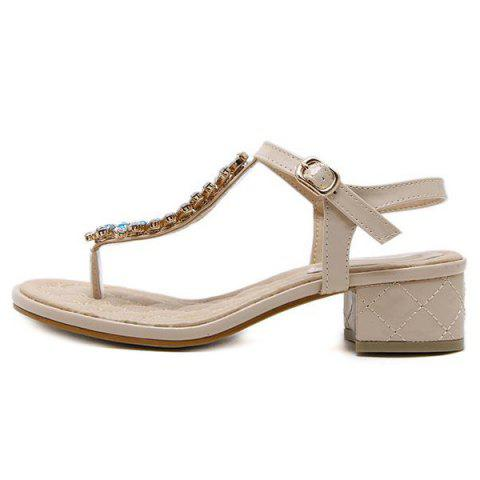 Online Rhinestones Patent Leather Sandals - 38 APRICOT Mobile