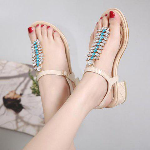 Shops Rhinestones Patent Leather Sandals - 38 APRICOT Mobile