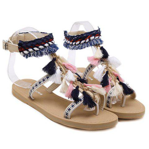 Cheap Chains Flat Heel Tassels Sandals - 38 APRICOT Mobile