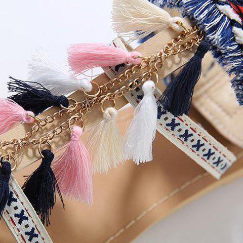Buy Chains Flat Heel Tassels Sandals - 38 APRICOT Mobile