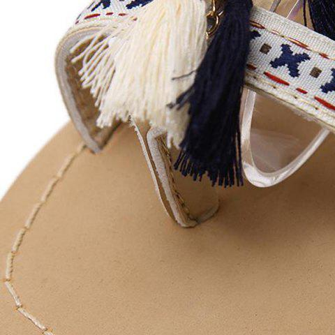 Trendy Chains Flat Heel Tassels Sandals - 38 APRICOT Mobile