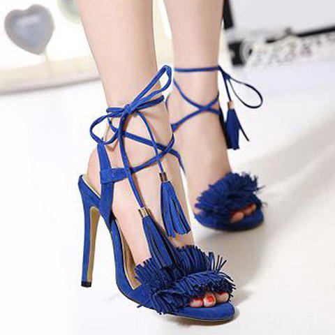 Store Fringe Stiletto Heel Sandals BLUE 40