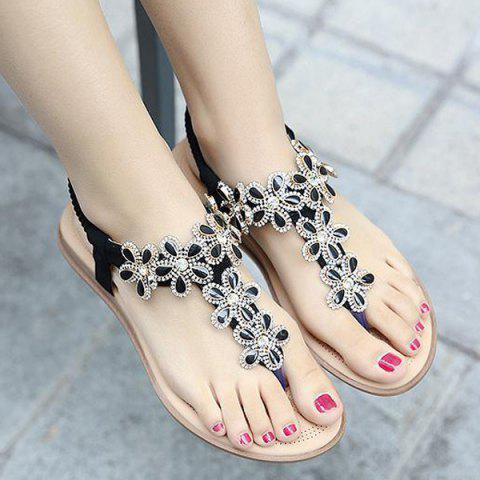 Fancy Rhinestones Flat Heel Sandals