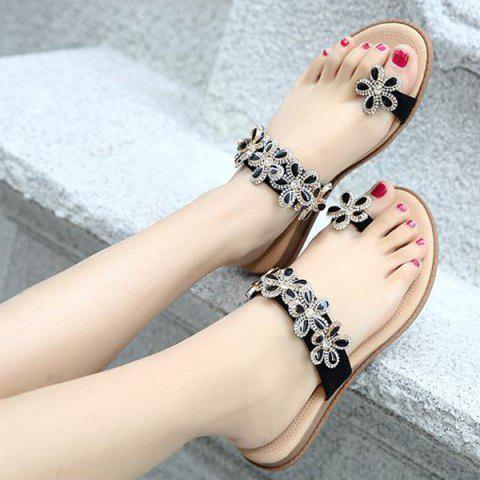 Outfits Toe Ring Flat Heel Slippers - 39 BLACK Mobile