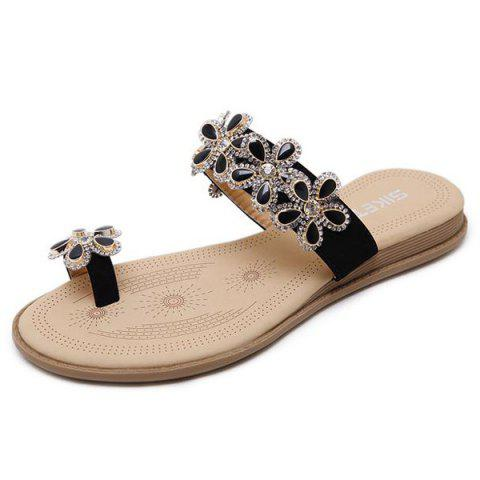 Outfit Toe Ring Flat Heel Slippers - 39 BLACK Mobile