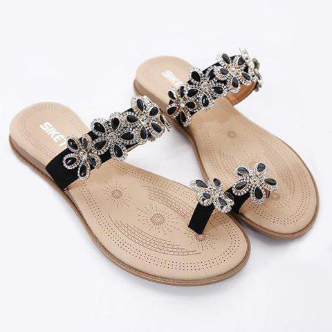 Outfit Toe Ring Flat Heel Slippers - 41 BLACK Mobile