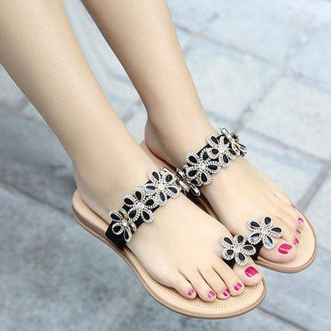 Outfits Toe Ring Flat Heel Slippers - 41 BLACK Mobile