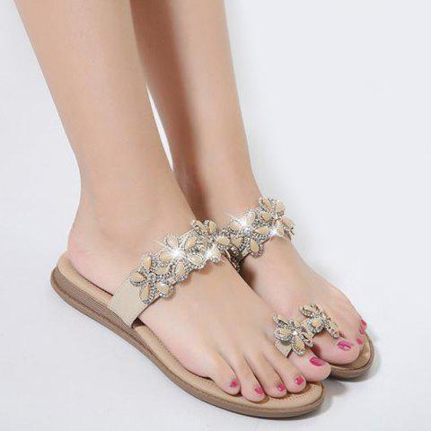 Fashion Toe Ring Flat Heel Slippers - 38 APRICOT Mobile