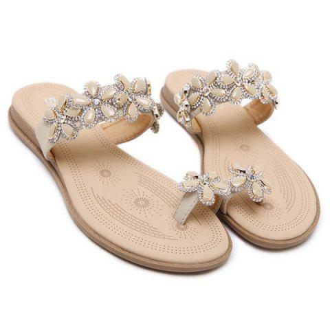 Hot Toe Ring Flat Heel Slippers - 41 APRICOT Mobile