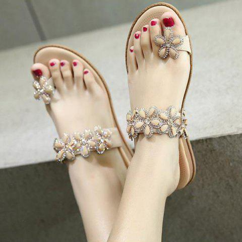 Discount Toe Ring Flat Heel Slippers - 41 APRICOT Mobile