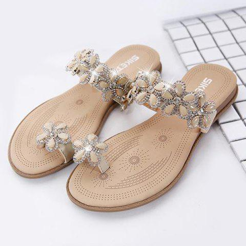 Outfits Toe Ring Flat Heel Slippers - 41 APRICOT Mobile