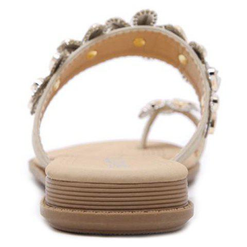 Outfit Toe Ring Flat Heel Slippers - 41 APRICOT Mobile