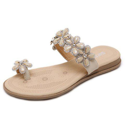 Best Toe Ring Flat Heel Slippers - 41 APRICOT Mobile