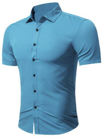 Slim Fit Short Sleeve Formal Business Shirt - Sky Blue - M