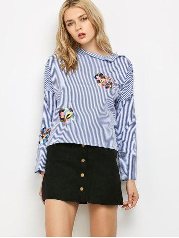 Online Stand Neck Long Sleeve Striped Embroidered Blouse BLUE AND WHITE L