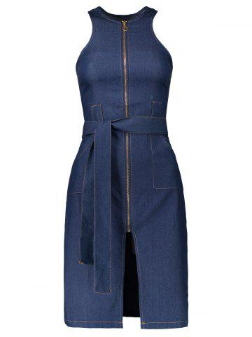 Store Sleeveless Zip Up Denim Belted Round Neck Denim Jean Dress