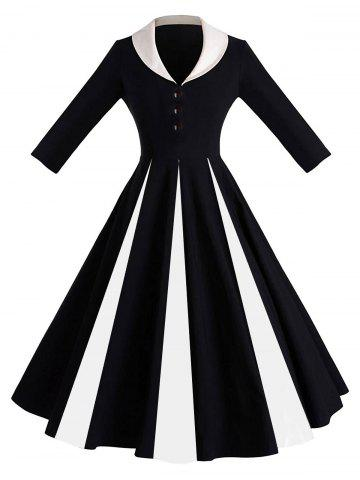 Unique Color Block Shawl Collar Pin Up Dress