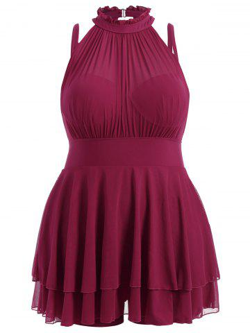 Cheap Plus Size Sleeveless High Neck Chiffon Skirted Swimsuit DEEP RED 3XL