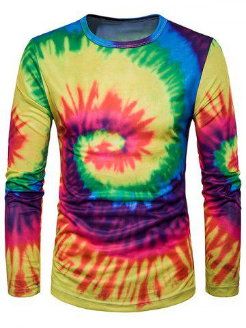 Best Crew Neck Ombre Tie Dye Trippy T-Shirt - YELLOW AND RED XL Mobile