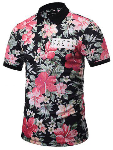 Outfit Short Sleeve Floral Hawaiian Polo Shirt COLORMIX 3XL