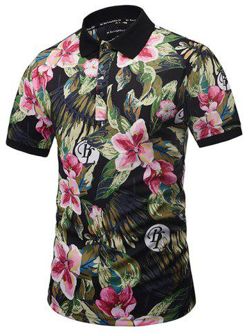 Unique Graphic Print Floral Hawaiian Polo Shirt