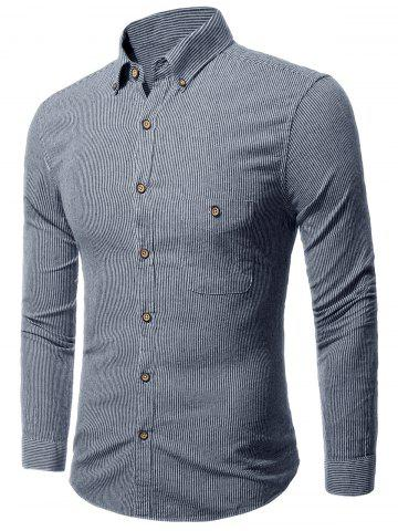 Latest Button Down Striped Pocket Shirt - M GRAY Mobile