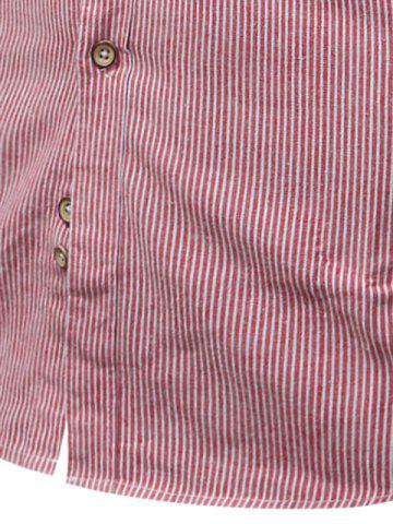 Hot Button Down Striped Pocket Shirt - 3XL PURPLE Mobile