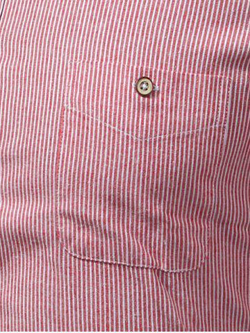 Affordable Button Down Striped Pocket Shirt - M PURPLE Mobile