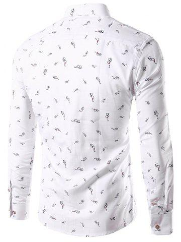 Affordable Glasses Print Long Sleeve Button Down Shirt - L WHITE Mobile