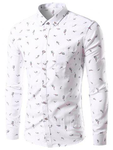 Affordable Glasses Print Long Sleeve Button Down Shirt - XL WHITE Mobile