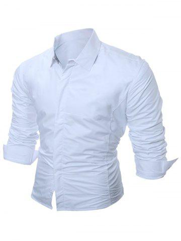 New Long Sleeve Flocking Shirt - L WHITE Mobile