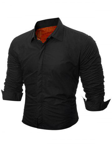 Affordable Long Sleeve Flocking Shirt - M BLACK Mobile