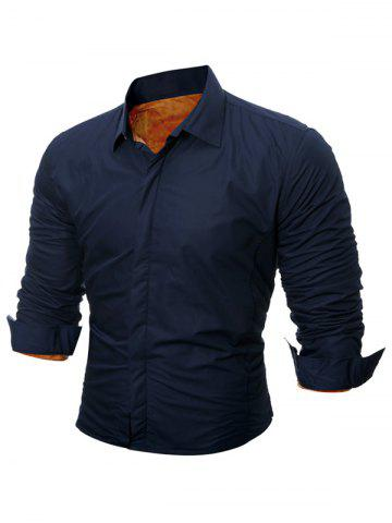 Best Long Sleeve Flocking Shirt - 2XL CADETBLUE Mobile