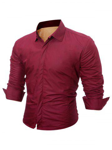 Cheap Long Sleeve Flocking Shirt - M WINE RED Mobile