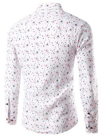 Best Splatter Paint Dot Print Long Sleeve Shirt - 3XL WHITE Mobile