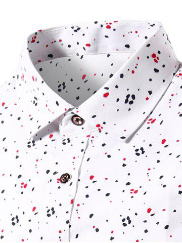 Cheap Splatter Paint Dot Print Long Sleeve Shirt - 3XL WHITE Mobile