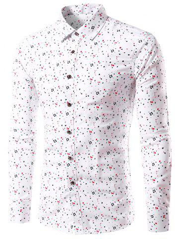 Hot Splatter Paint Dot Print Long Sleeve Shirt - 3XL WHITE Mobile
