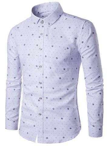 Trendy Polka Dot and Badge Print Plaid Shirt - 5XL WHITE Mobile