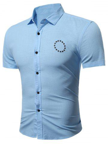 Buy Star Embroidery Short Sleeve Shirt - Ice Blue L