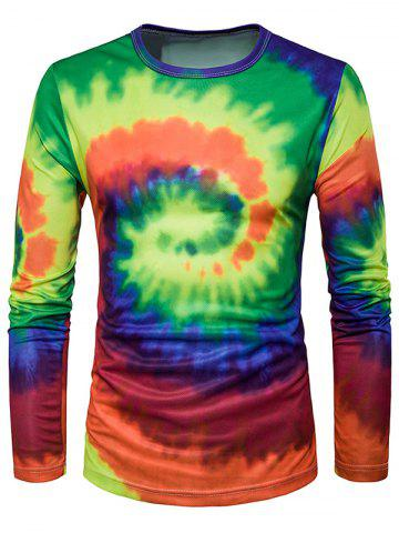 Crew Neck Ombre Tie Dye Trippy T-Shirt - Blue And Green - Xl