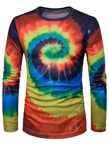 Shop Crew Neck Ombre Tie Dye Trippy T-Shirt RED WITH BLACK M