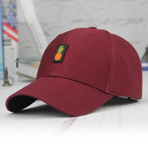 Printed Long Tail Pineapple Embroidery Baseball Cap - Claret - W20 Inch * L31.5 Inch