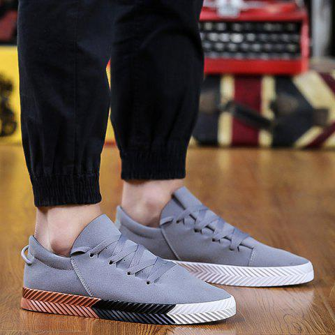 Suede Round Toe Casual Shoes - Gray - 44