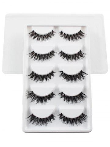 Outfit 5 Pairs Dense Fake Eyelashes WHITE