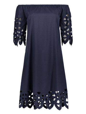 Online Off The Shoulder Mini Casual Shift Dress With Sleeve CADETBLUE XL