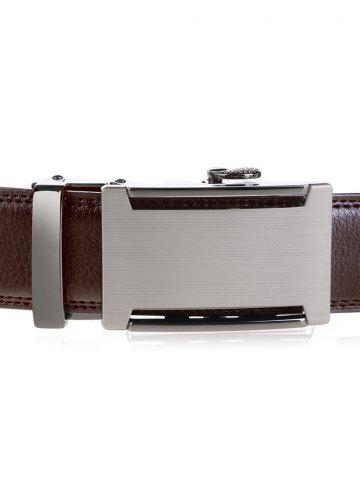 Store Metallic Auto Buckle Faux Leather Wide Belt - BROWN  Mobile