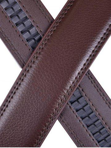 Buy Metallic Auto Buckle Faux Leather Wide Belt - BROWN  Mobile