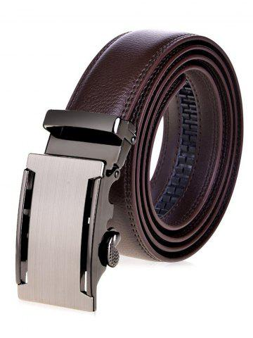 Shops Metallic Auto Buckle Faux Leather Wide Belt - BROWN  Mobile